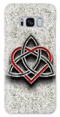 Celtic Knotwork Valentine Heart Bone Texture Galaxy Case by Brian Carson