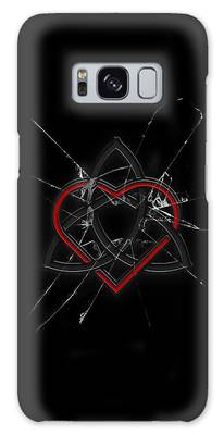 Celtic Knotwork Valentine Heart Broken Glass 1 Galaxy Case by Brian Carson
