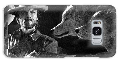 Galaxy Case featuring the painting Clint Eastwood With Wolves by Ericamaxine Price