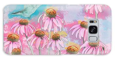 Galaxy Case featuring the photograph Coneflower Hummingbird Watercolor by Patti Deters