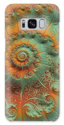 Galaxy Case featuring the digital art Copper Verdigris by Susan Maxwell Schmidt