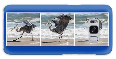 Galaxy Case featuring the photograph Dancing Heron Triptych by Patti Deters