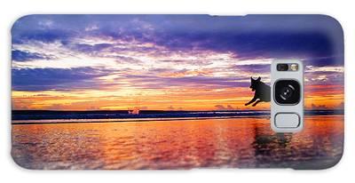 Dog Chasing Stick At Sunrise Galaxy Case