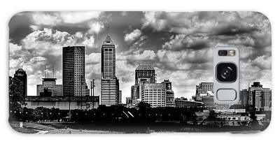 Downtown Indianapolis Skyline Black And White Galaxy Case