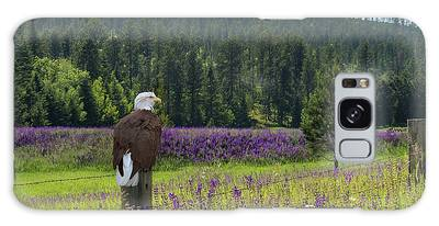 Galaxy Case featuring the photograph Eagle On Fence Post by Patti Deters
