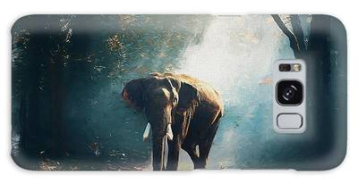 Galaxy Case featuring the painting Elephant In The Mist - Painting by Ericamaxine Price