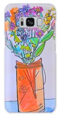 Flowers In An Orange Mason Jar Galaxy Case