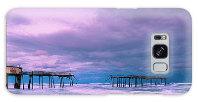 Galaxy Case featuring the photograph Frisco Fishing Pier And Clouds Panorama by Ranjay Mitra