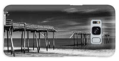Galaxy Case featuring the photograph Frisco Fishing Pier In Black And White Panorama by Ranjay Mitra