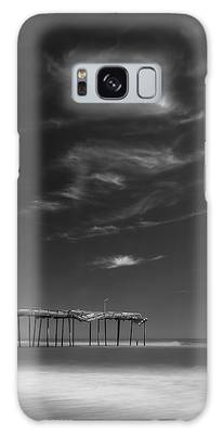Galaxy Case featuring the photograph Frisco Pier In North Carolina And Clouds In Black And White by Ranjay Mitra