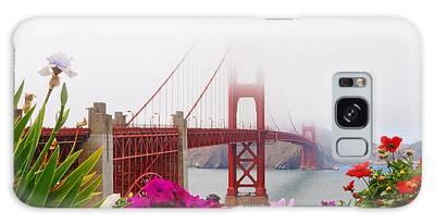 Golden Gate Bridge Flowers 2 Galaxy Case