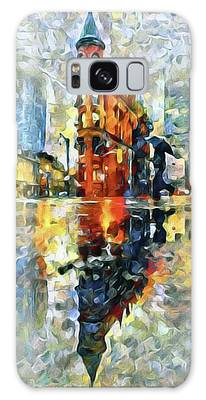 Galaxy Case featuring the mixed media Gooderham Flatiron Building In The Rain by Susan Maxwell Schmidt