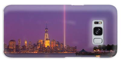 Galaxy Case featuring the photograph Laser Twin Towers In New York City by Ranjay Mitra