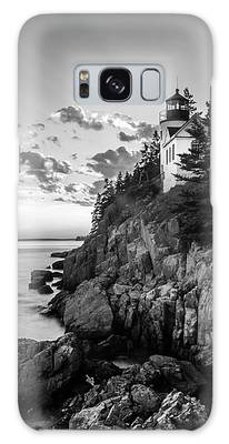 Maine Acadia Bass Harbor Lighthouse In Black And White Galaxy Case by Ranjay Mitra
