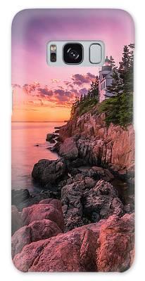 Maine Acadia Bass Harbor Lighthouse Sunset Galaxy Case by Ranjay Mitra