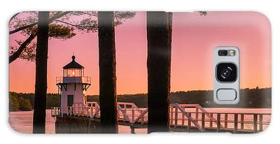 Galaxy Case featuring the photograph Maine Doubling Point Lighthouse At Sunset Panorama by Ranjay Mitra