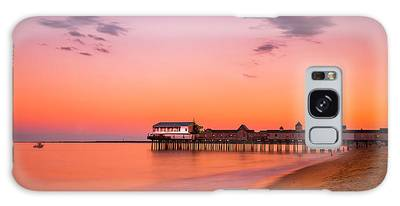Galaxy Case featuring the photograph Maine Old Orchard Beach Pier At Sunset by Ranjay Mitra