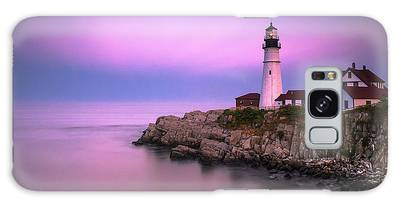 Galaxy Case featuring the photograph Maine Portland Headlight Blue Hour Panorama by Ranjay Mitra