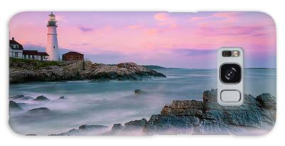 Galaxy Case featuring the photograph Maine Portland Headlight Lighthouse At Sunset Panorama by Ranjay Mitra