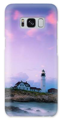 Galaxy Case featuring the photograph Maine Portland Headlight Lighthouse In Blue Hour by Ranjay Mitra