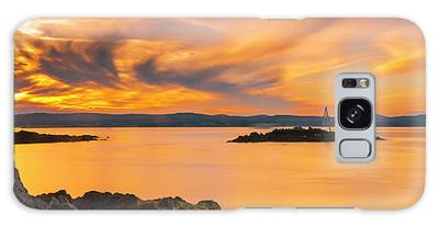 Galaxy Case featuring the photograph Maine Rocky Coastal Sunset In Penobscot Bay Panorama by Ranjay Mitra