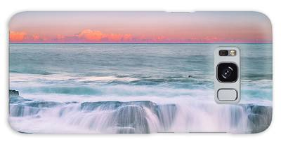 Galaxy Case featuring the photograph Maine Rocky Coastal Sunset Panorama by Ranjay Mitra