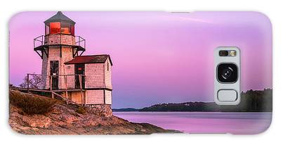 Galaxy Case featuring the photograph Maine Squirrel Point Lighthouse On Kennebec River Sunset Panorama by Ranjay Mitra