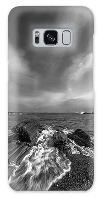 Galaxy Case featuring the photograph Maine Storm Clouds And Crashing Waves On Rocky Coast by Ranjay Mitra