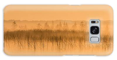 Galaxy Case featuring the photograph Misty Morning Floating Bog Island On Boy Lake by Patti Deters