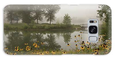 Galaxy Case featuring the photograph Misty Pond Bridge Reflection #3 by Patti Deters
