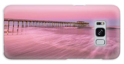 Galaxy Case featuring the photograph Myrtle Beach Fishing Pier At Sunset Panorama by Ranjay Mitra