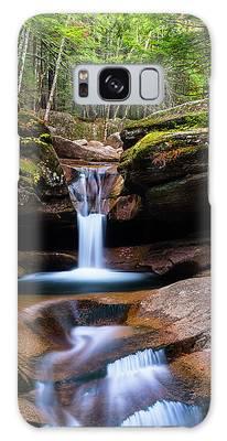Galaxy Case featuring the photograph New Hampshire Sabbaday Falls And Fall Foliage Panorama by Ranjay Mitra