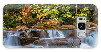 Galaxy Case featuring the photograph New Hampshire White Mountains Swift River Waterfall In Autumn With Fall Foliage by Ranjay Mitra