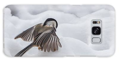 Galaxy Case featuring the photograph Chickadee - Wings At Work by Patti Deters