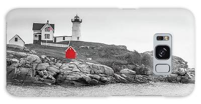 Nubble Lighthouse In Color And Black And White Galaxy Case