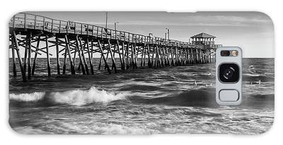 Galaxy Case featuring the photograph Oceana Ocean Crest Fishing Pier In Nc Panorama In Bw by Ranjay Mitra