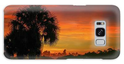 Galaxy Case featuring the photograph Palm Silhouette Sunrise by Tom Claud