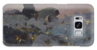 Shadowy Figure Paintings Galaxy Cases