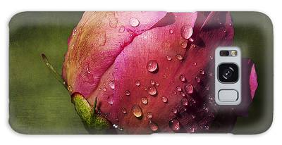 Galaxy Case featuring the photograph Pink Peony Bud With Dew Drops by Patti Deters