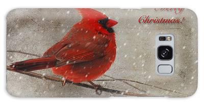 Red Bird In Snow Christmas Card Galaxy Case