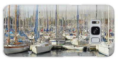 Galaxy Case featuring the painting Sailboats At The Dock - Painting by Ericamaxine Price