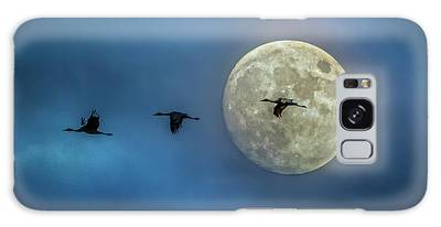 Galaxy Case featuring the photograph Sandhill Cranes With Full Moon by Patti Deters