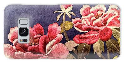 Galaxy Case featuring the tapestry - textile Silk Peonies - Kimono Series by Susan Maxwell Schmidt