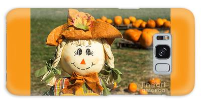 Smiling Scarecrow With Pumpkins Galaxy Case