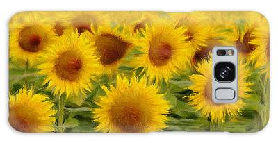 Sunflowers In The Field Galaxy Case