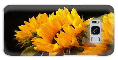 Sunflowers On A Black Background Galaxy Case