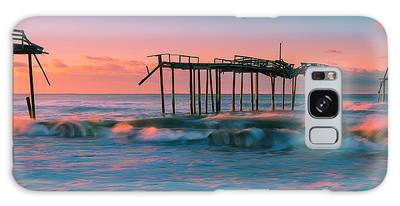 Galaxy Case featuring the photograph Sunrise At Outer Banks Fishing Pier In North Carolina Panorama by Ranjay Mitra