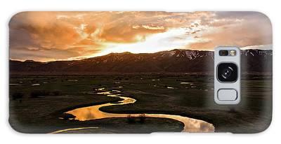 Sunrise Over Winding River Galaxy Case
