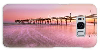 Galaxy Case featuring the photograph Sunset Beach Fishing Pier In The Carolinas At Sunset by Ranjay Mitra