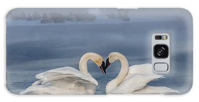 Galaxy Case featuring the photograph Swan Valentine - Blue by Patti Deters